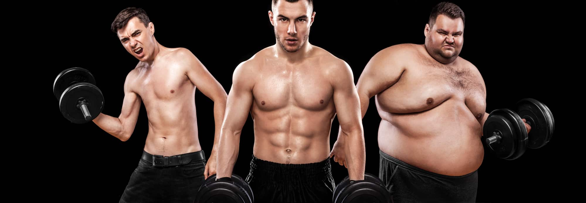 Ectomorph, mesomorph and endomorph . Before and after result. Sport concept. Group of three young sports men - fitness models holds the dumbbell on black background. Fat, fit and athletic men.